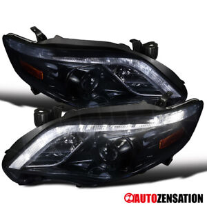 For 2011 2013 Toyota Corolla Led Drl Glossy Black Smoke Projector Headlights