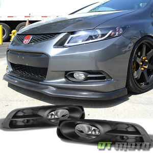For 2012 2013 Honda Civic Coupe Bumper Driving Fog Lights Lamps W harness switch