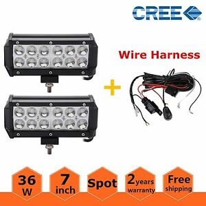 2x 7inch 36w Spot Cree Led Work Light Bar Off Road Atv Truck 4wd With Wiring Kit