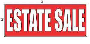 2x4 Estate Sale Red With White Copy Banner Sign New