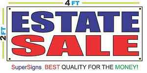 2x4 Estate Sale Banner Sign Red White Blue New Discount Size Price