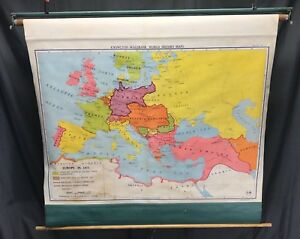 Nystrom Pull Down School Cloth Map Europe 1871 Vintage 50s Shabby Wall Display