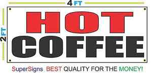 2x4 Hot Coffee Banner Sign New Red Black