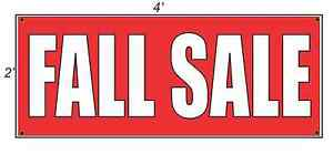 2x4 Fall Sale Red With White Copy Banner Sign New