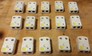 Qty 15 Used Omega K Thermocouple Ceramic Female Connectors