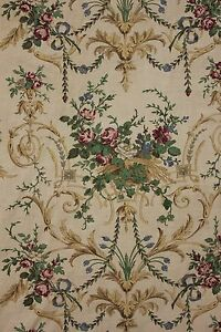 Antique French Curtain Printed Linen Fabric Rococo Design C 1880 Bed Hanging
