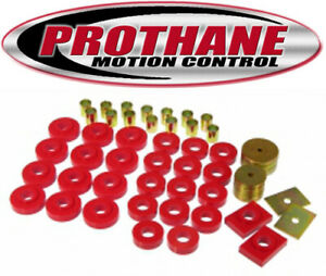 Prothane 7 129 1955 1957 Chevy Bel Air Body Mount Bushing Kit Red Poly