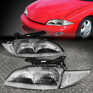 For 95 99 Chevy Cavalier Chrome Housing Clear Corner Headlight Replacement Lamps