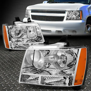 For 07 14 Chevy Tahoe Suburban Chrome Housing Amber Corner Headlight Head Lamps