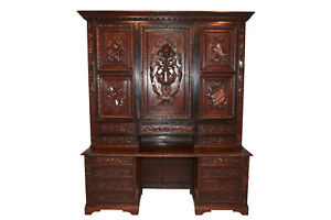 Rare Antique French Renaissance Bookcase Solid Carved Doors Impressive Large