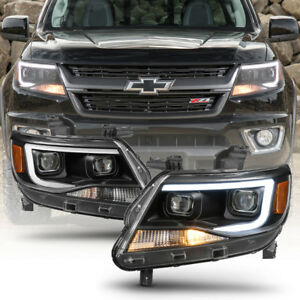Black 2015 2018 Chevy Colorado Led Tube Drl Dual Projector Headlights Headlamps