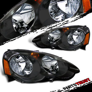 For 2002 2003 2004 Acura Rsx Dc5 Type S Black Factory Style Headlights Pair