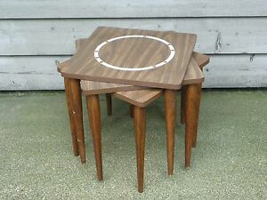 3 Vtg Mid Century Stacking Nesting Mosaic End Side Tables Woodgrain Laminate Top
