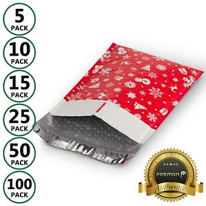 Fosmon Christmas Holiday Gift Self Seal Poly Bubble Mailer 0 2 5 Padded Envelope