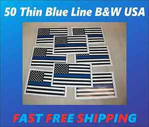 50 Thin Blue Line Black White Usa Flag Wholesale Stickers Police Support