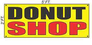 Donut Shop Banner Sign Yellow With Red Black