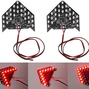 2pcs Red 33 Smd Sequential Led Arrows For Car Rear Side Mirror Turn Signal Light