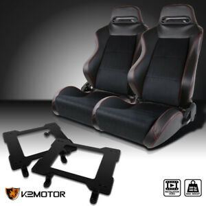 79 98 Mustang Black Pvc Leather Racing Seats Red Stitch laser Welded Brackets