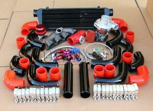 T3 T4 57 Ar Turbo Manifold 2 5 Black Piping Red Coupler Civic D Series