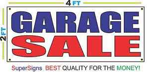 2x4 Garage Sale Banner Sign Red White Blue New Discount Size Price