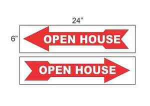 Open House Arrow Red 6 x24 Real Estate Signs Buy 1 Get 1 Free 2 Sided