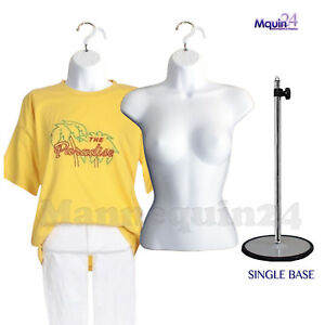 2 White Mannequin Female Torsos 2 Hangers 1 Stand Women s Dress Forms