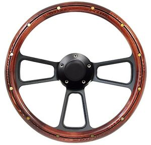 New World Motoring Wood Steering Wheel Black Billet 14 For Hot Rod With Id