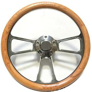 Hot Rod Street Rod Rat Rod Truck Real Oak Chrome Steering Wheel Horn