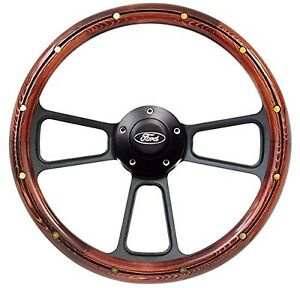 Ford F series Steering Wheel Real Wood Brass Rivets Billet Ford Horn Button
