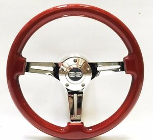 14 Mahogany Wood Chrome Ss Steering Wheel W Billet Adapter Boss 69 94 Chevy Gm