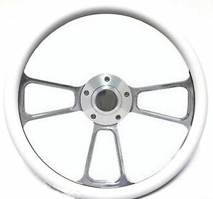 New World Motoring Rhino Golf Cart 14 Billet White Steering Wheel Includes