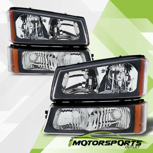 2003 2006 Chevy Silverado 1500 2500 3500 Black Headlights Signal Bumper Lamps
