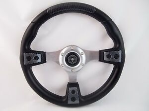 Club Car Precedent Carbon Fiber Steering Wheel Golf Cart With Adapter 3 Spoke