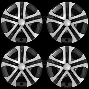 4 Silver Black 2013 2018 Toyota Rav4 Le 17 Hub Caps Full Rim R17 Wheel Covers