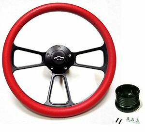 1969 1994 Chevelle Steering Wheel Black Billet Red With Chevy Horn Adapter