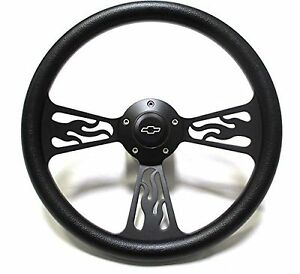 1969 1994 Chevelle Steering Wheel Black Billet Flame Design Chevy Horn Full Kit