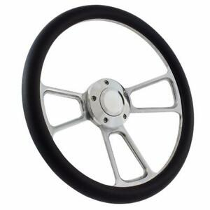 Hot Rod Street Rod Rat Rod Truck Black Chrome Steering Wheel Horn