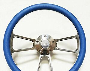 Nova Camaro Chevelle El Camino Blue Billet Steering Wheel With Ss Horn 14
