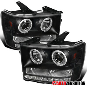 07 13 Gmc Sierra 1500 2500 Hd Denali Black Dual Halo Led Projector Headlights