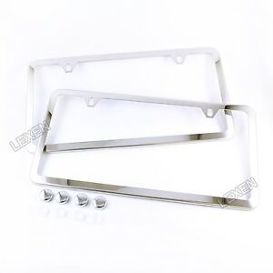 2pcs Slim Chrome Stainless Steel License Plate Frame Screw Cap Slim 2 Hole Cf 2
