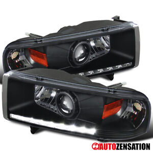 For 1994 2001 Dodge Ram 1500 2500 3500 Smd Led Drl Black Projector Headlights