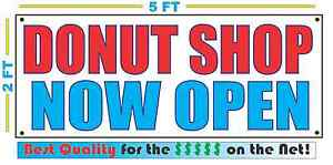 Donut Shop Now Open Banner Sign New Larger Size Best Quality For The