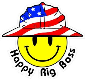 3 Happy Rig Boss Smiley Usa Hardhat Oilfield Helmet Toolbox Sticker H885