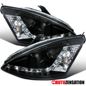 For 2000 2004 Ford Focus Black Projector Headlights Lamps W R8 Style Led Drl