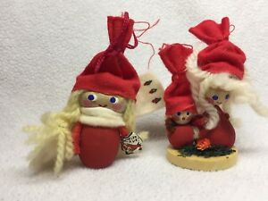 2 Vintage Wooden Holline Christmas Troll Doll Miniature Figures From Denmark