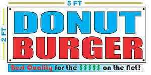 Donut Burger Banner Sign New