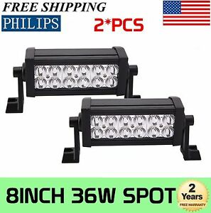 Philips 2x 8inch 36w Spot Led Work Light Bar Suv 4wd Jeep Ute Driving Boat 6000k