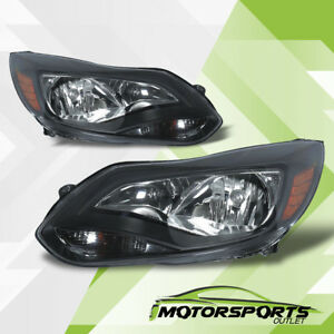 2012 2013 2014 Ford Focus Black Factory Style Black Headlights Head Lamps Pair