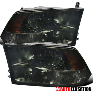 2009 2018 Dodge Ram 1500 2500 3500 Pair Smoke Quad Lamps Headlights Left Right