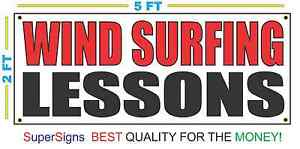 Wind Surfing Lessons Banner Sign New Red Black
